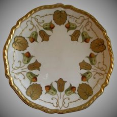 Art Deco Home Studio Hand Painted Cabinet Plate w/Bellflowers & Foliage Motif
