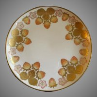 Hand Painted Limoges Cabinet Plate w/Strawberry Blossoms, Fruit & Foliage Motif
