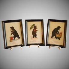 "Set of 3 Framed Bernhardt Wall ""Teddy Bear - Seven Days of the Week"" Postcards"