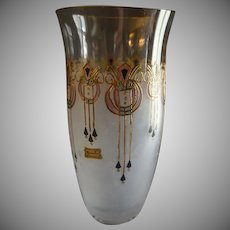 "Vintage Egermann Czech Republic ""Art Deco' Design Enameled & Stained Glass Vase"