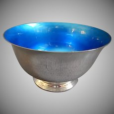 Towle Silversmiths Sterling Silver & Blue Enameled Bowl #521