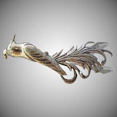 """Danecraft Sterling Silver Mid-Century """"Bird Of Paradise"""" Brooch"""
