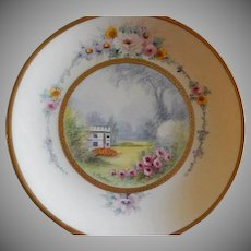 "Pickard Studio Hand Painted ""Versailles Garden"" Pattern Cabinet Plate -  Signed E Challinor"