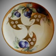 White's Art Company Hand Painted Cabinet Plate w/Purple Plums & Gold Deco Design Motif