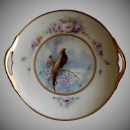 "Pickard Studio Hand Painted ""Golden Pheasant"" Pattern Handled Cake Plate -  Signed E Challinor"