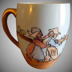T&V Limoges Hand Painted Child's Mug w/Dutch Scene of Children Herding Geese