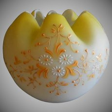 Yellow Satin Glass Rose Bowl w/Delicate White Daisies & Orange Enamel Decoration
