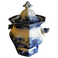 "J Clementson Ironstone Blue Transfer-ware ""Hyson"" Pattern Covered Sugar Bowl"