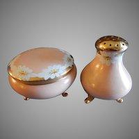 Vienna Austria Porcelain Hand Painted Covered Vanity Box & Talc Dispenser Set w/Daisies Decoration