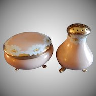 Vienna Austria Porcelain Hand Painted Covered Vanity Box & Talc Dispenser Set w/Daisies Decoration