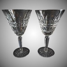 Set of 2 Waterford Crystal 'Glenmore' Pattern Water Goblets