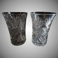 "Set of 2 ""Brilliant"" Cut Glass Corset-Shape Tumblers"