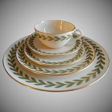 Four - 5 Pc. Place Settings - Lenox Porcelain Athenia (Rim Shape) Laurel Wreath Pattern X-421