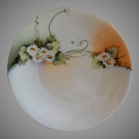 Home Studio Hand Painted Cabinet Plate w/White Daises Motif - Artist Signed Poole
