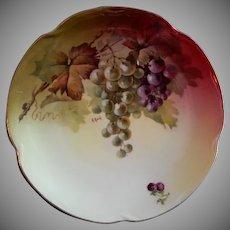 """Jaeger & Co. Porcelain """"Fruit Motif"""" Cabinet Plate - Signed A Koch"""