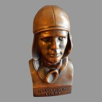 """Vintage Aviator Charles Lindbergh """"You Can Bank On Lindy"""" Still Coin Bank - Oregon, Illinois - 1929"""