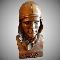 "Vintage Aviator Charles Lindbergh ""You Can Bank On Lindy"" Still Coin Bank - Oregon, Illinois - 1929"