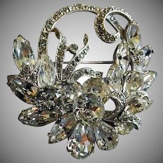 Eisenberg Ice Diamond Rhinestone Floral Swag Motif Brooch