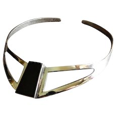 "Mexican Modernist Sterling Silver & Onyx ""Collar"" Necklace"