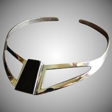 """Mexican Modernist Sterling Silver & Onyx """"Collar"""" Necklace"""