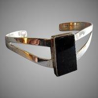 "Mexican Modernist Sterling Silver & Onyx ""Cuff"" Bracelet"