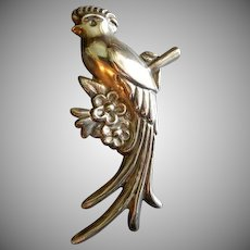 "Mexican Sterling Silver Large 3 dimensional ""Quetzal"" Bird Figural Brooch"