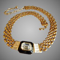 Trifari Gold-Tone Necklace w/Diamond Rhinestones & Black Enamel Medallion