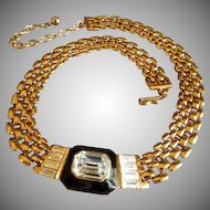 Trifari Gold-Tone Necklace w/Diamond Rhinestones & Black Enamel Medallion