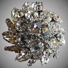 Austrian Silver-Tone & Diamond Rhinestone Dome-Shaped Brooch