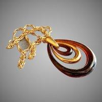Trifari Vintage Gold-Tone & Root Beer Lucite Pendant Necklace