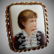Continental Painted Porcelain Portrait Brooch of Young Lady 1890-1920