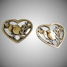 "Coro Sterling Silver - Pair ""Heart Peace"" Pins w/Pegasus Mark"