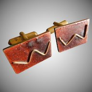 Copper Enameled Mid-Century Modernist Gentleman's Cuff Links