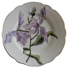 Charles Haviland & Co. Hand Painted Cabinet Plate w/Orchid Blossoms & Bud Motif - Artist Signed