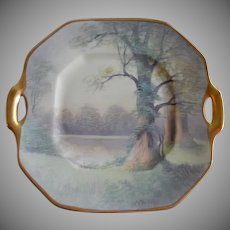 """Pickard Studio Hand Painted """"Lakeside Forest"""" Pattern Scenic Cake Plate - Signed E Challinor"""