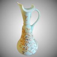 Victorian Satin Glass Ewer w/Enamel Decoration