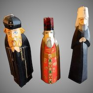 Set of 3 Vintage Russian Hand Carved & Painted Christmas Tree Decorations - Orthodox Priests