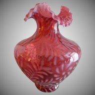 "Fenton Glass Cranberry Opalescent ""Daisy & Fern"" Pattern Vase"