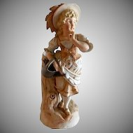 Victorian-Style Bisque Figurine/Vase - Pretty Young Peasant Girl Carrying a Sprinkling Can