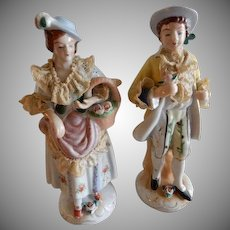 Pair of Victorian-Style Silco Porcelain & Lace Figurines - German Lady & Gentleman With Roses