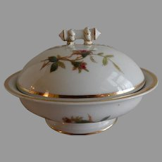 """1880's Charles Haviland & Co. Limoges """"Moss Rose"""" Pattern Covered Butter Dish"""