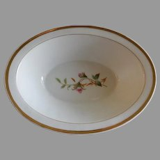 "1880's Charles Haviland & Co. Limoges ""Moss Rose"" Pattern Oval Open Serving Bowl"