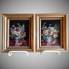"Pair of Oil Paintings by Listed Indiana Artist G F Bastian entitled ""Garden Flowers"""