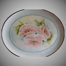 Hand Painted Porcelain Tray w/Soft Pastel Pink California Poppies Motif