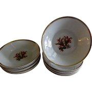 """1870's  Charles Haviland & Co. Limoges """"Moss Rose"""" Pattern - Set of 10 Fruit/Sauces Bowls"""