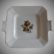 "Alfred Meakin Ironstone China ""Moss Rose"" Pattern Square Serving Plate w/Handles"