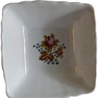 """Alfred Meakin Ironstone China """"Moss Rose"""" Pattern Square Serving Bowl"""