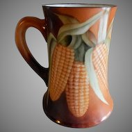 T&V Limoges Hand Painted Tankard Stein w/Ears of Corn Motif