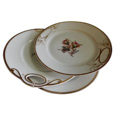 """Set of 3 - 1880's Charles Haviland & Co. Limoges """"Moss Rose"""" Pattern Dinner/Serving Plates"""