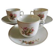 "Set of 3 - 1880's Charles Haviland & Co. Limoges ""Moss Rose"" Pattern Cups & Saucers"